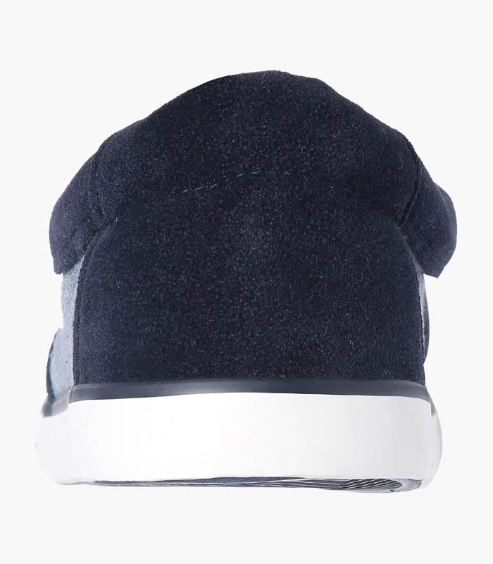 Men Navy & White Striped Shoes - Back